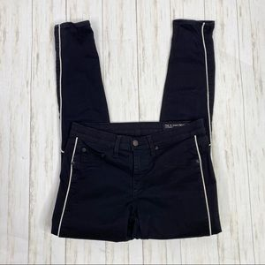 Rag & Bone Black White Leather Piping Skinny Jeans